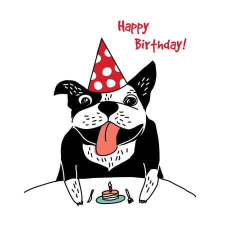 Dog French bulldog happy birthday cake greeting card. Color vector illustration. Illustration