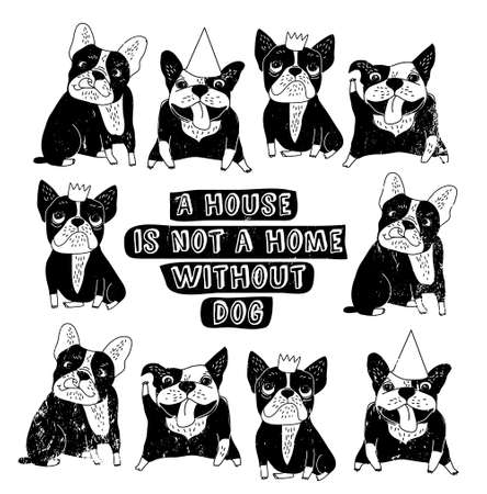 nice house: Dog French group bulldog happy home sign frame black and white poster. Monochrome vector illustration.