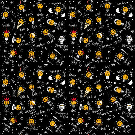 Doodles creative ideas dark color seamless pattern. Color vector illustration.