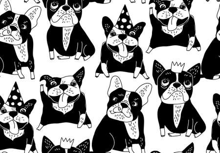 Happy dogs group French bulldog black seamless pattern. Monochrome vector illustration.