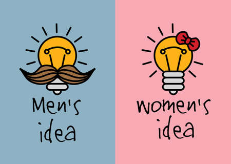 Man and woman ideas creative fun color icons. Color vector illustration.