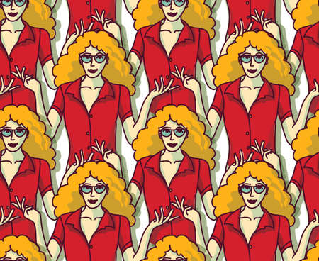 Blond pretty woman in red crowd color seamless pattern. Color vector illustration. Illustration