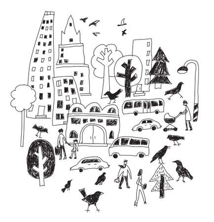 Doodles urban city life birds street isolate black and white objects. Color vector illustration.