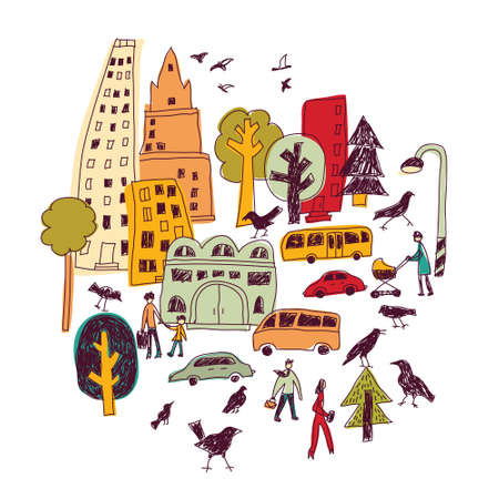 Doodles urban city life birds street isolate color objects white. Color vector illustration. EPS8