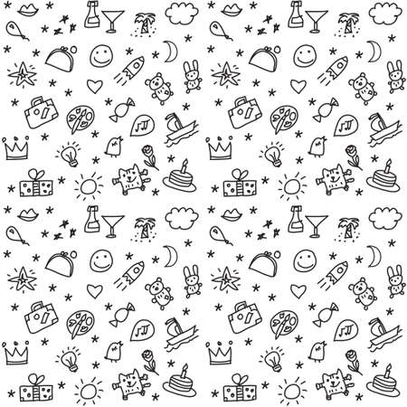 Greeting wishes icons seamless black and white pattern. Monochrome vector illustration.