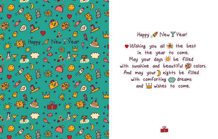 Happy new year greeting card. Color vector illustration.