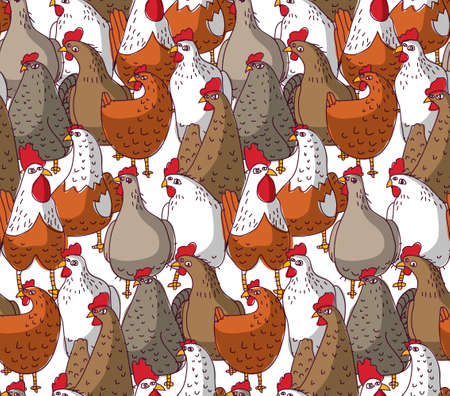 Birds chicken big group color seamless pattern. Color vector illustration.