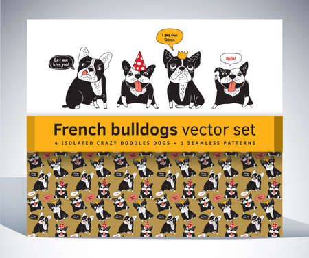 French bulldog set pack characters pattern and objects. Color vector illustration. Illustration