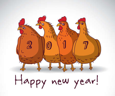 New year greeting chicken card with sign. Color vector illustration. Illustration