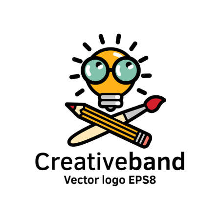 Creative band color icon art symbol bulb. Color illustration. Illustration