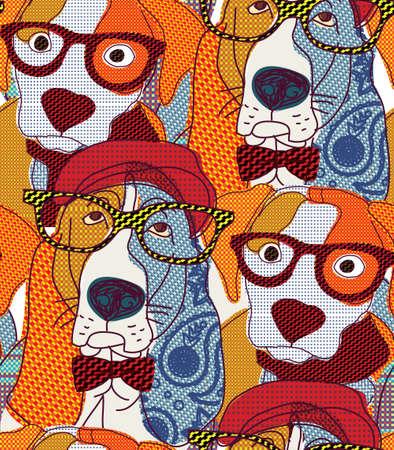 Dog seamless pattern patchwork.