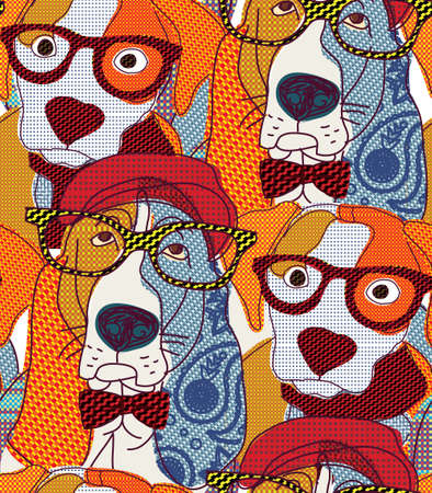 Dog seamless pattern patchwork.