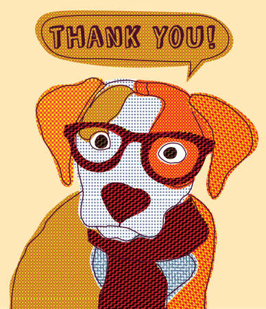 Cute dog thank you card patchwork.