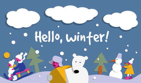 Hello winter snow sign flat card. Illustration
