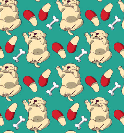 Puppy cute rest sleep relax seamless pattern