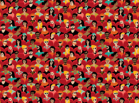 Auditorium audience hall large group people color seamless pattern.