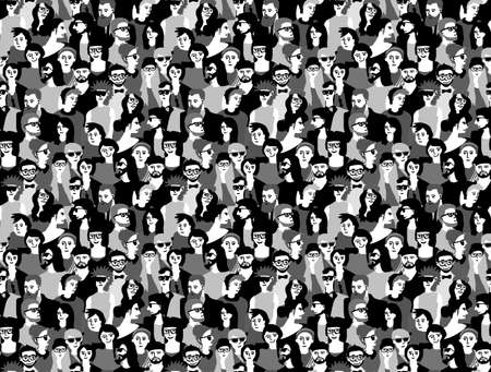 Big crowd happy people black and white seamless pattern.