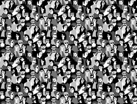Grote menigte gelukkige mensen zwart en wit naadloze patroon.