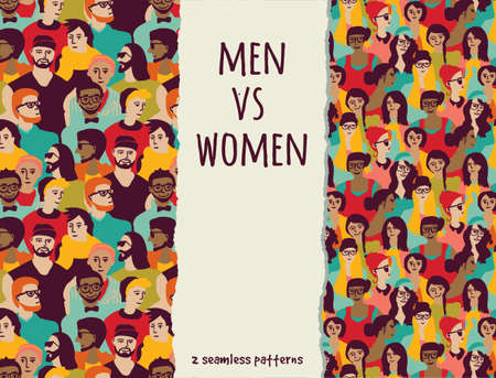 Men vs women crowd people color seamless patterns.