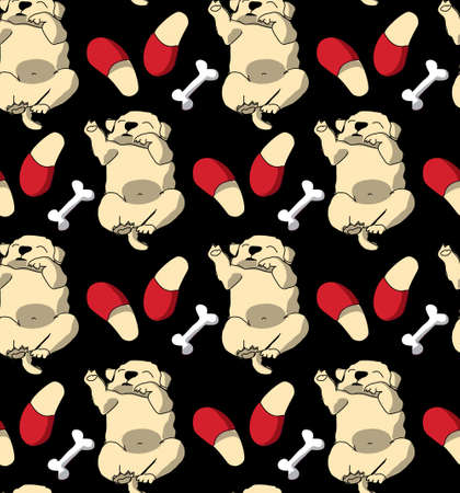 Puppy cute rest sleep relax seamless pattern dark wallpaper. Illustration
