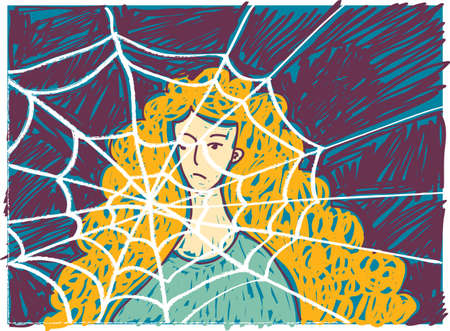 Pretty young unhappy woman in depression doodles. Color vector illustration. EPS8 Illustration