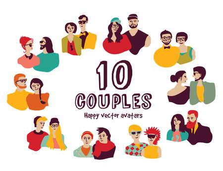 romance: Family couples avatars people faces color set. Color vector illustration. EPS8