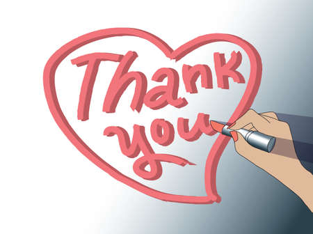 Thank you sign woman hand draw heart. Color vector illustration. EPS8