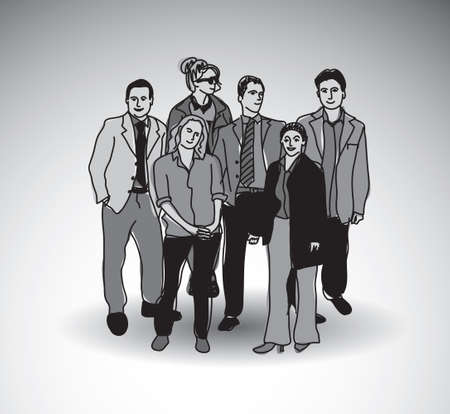 shadow people: Business team group people with shadow. Illustration