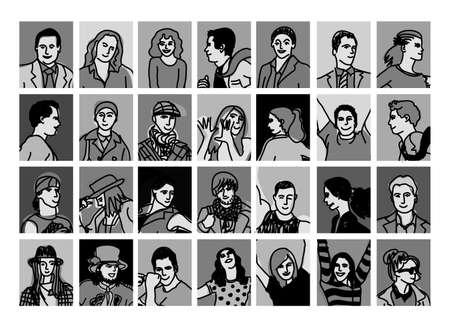black people: Set avatars black and white people icons. Illustration