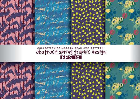 Set spring floral background color seamless pattern. Hand Drawn textures. Illustration