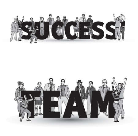 Success team group business people isolate black and white. Illustration