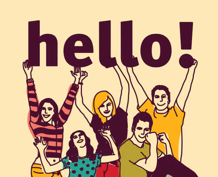 Group young people and signs hello. Illustration