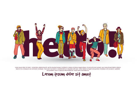 Hello team group people isolate and sign. Illustration