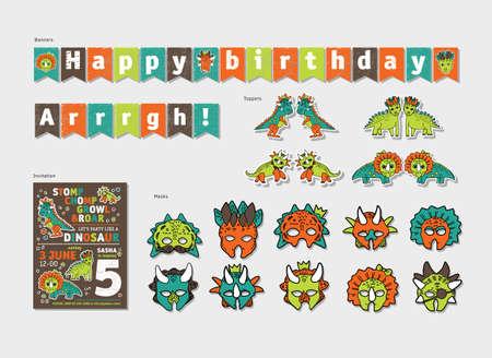 Dinosaurs boy birthday party decor set. Color vector illustration.