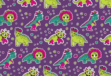 Dinosaurs pink and purple seamless pattern. Stock Photo