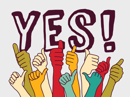 Yes consent rally hands sign and letters.. Color vector illustration. EPS8 Illustration