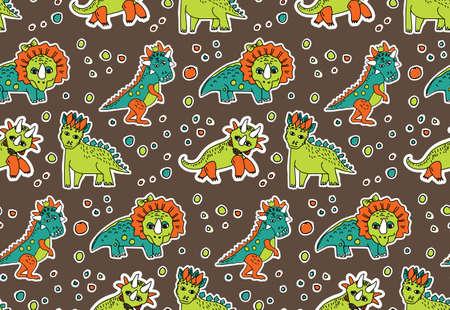 Dinosaurs objects seamless pattern.