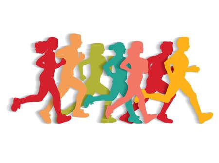 Sport running people cutout flat silhouette.
