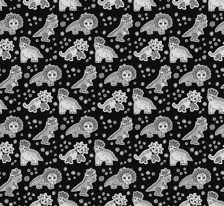 Dinosaurs objects gray scale seamless pattern