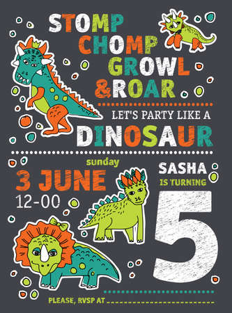 Invitation dinosaurs party birthday. Çizim