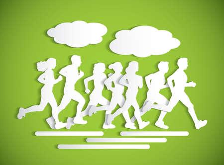Flat running people sport maraphone cutout silhouette. Stock Photo
