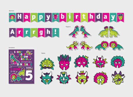 Dinosaurs girl party birthday decor set. Color vector illustration. EPS8