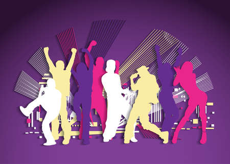 Active flat dancing people party night cutout silhouette. Color vector illustration. EPS10