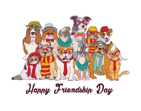 Friendship day cats and dogs isolate group white.