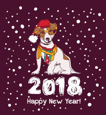Snow happy new year card 2018 dog.