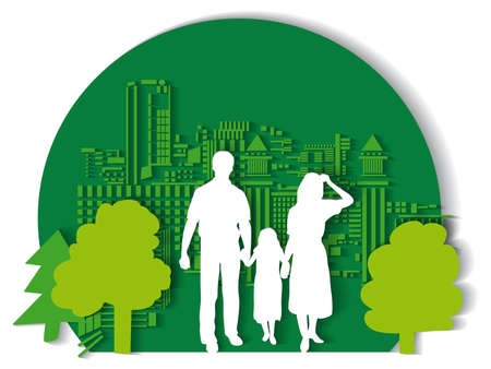 Green city family flat. Color vector illustration. EPS10