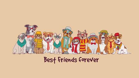 Group fashion best friends pets fun animals card. Illustration
