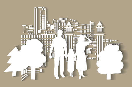 Silhouette city people family flat.