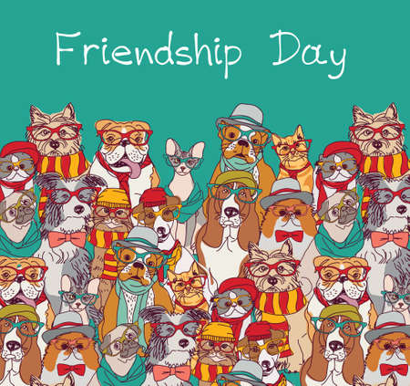 Group fashion of mans best friend, cats and dogs funny animals card Illustration