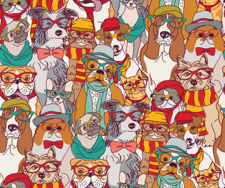 Fashion cats and dogs in glasses color seamless pattern. Illustration